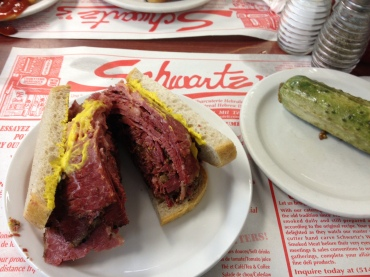 Smoked Meat Sandwich with Mustard and a Half-Sour Pickle